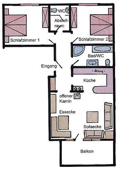 Grundriss der Ferienwohnung Haus Rosenrot