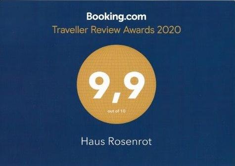 Die hohe Auszeichnung für Haus Rosenrot bei Booking.com