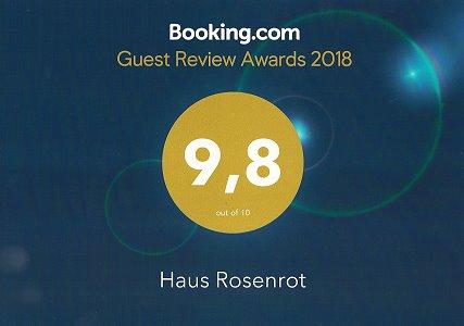 Booking.com-Auszeichnung für Ferienwohnung Haus Rosenbichl