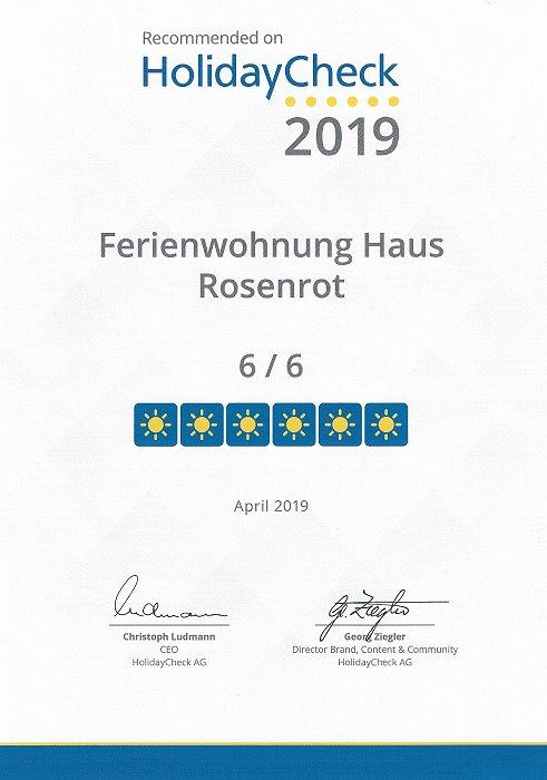 HolidayCheck-Auszeichnung für Ferienwohnung Haus Rosenrot
